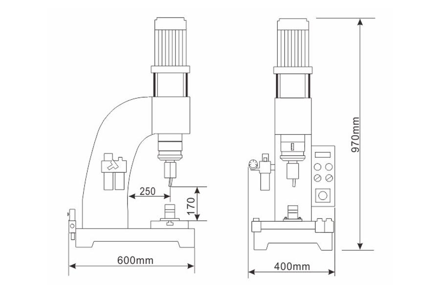 DF-A-1型气压铆接机结构尺寸图