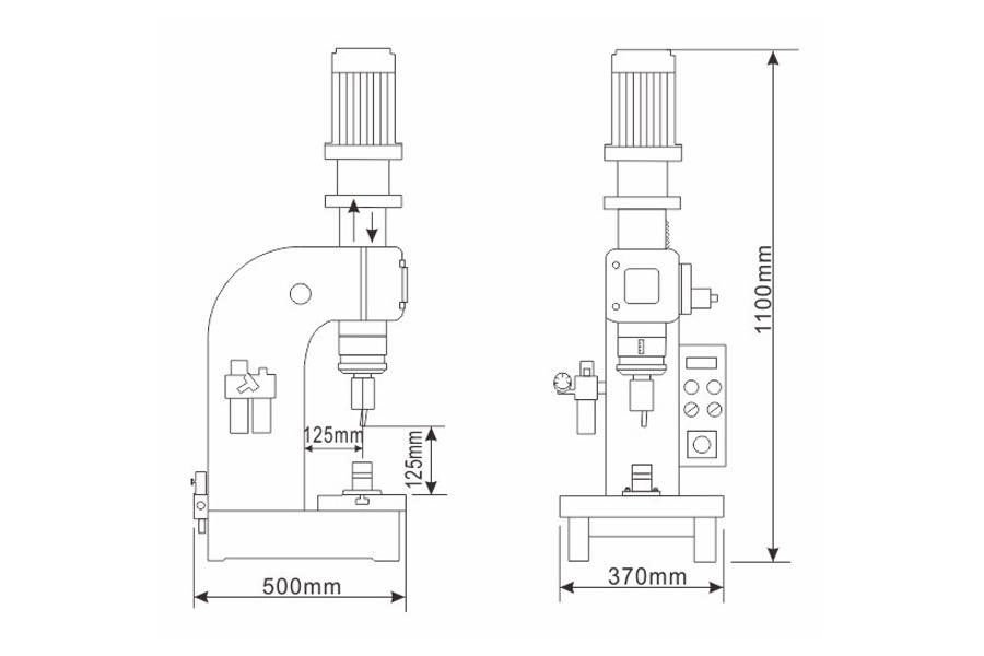 DF-A-5型气压铆接机结构尺寸图
