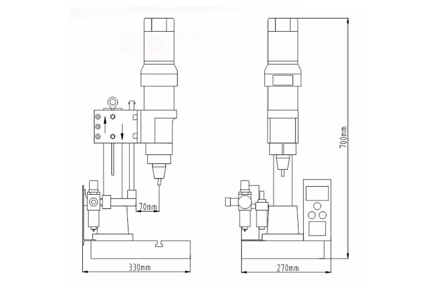 DF-A-6型气压铆接机结构尺寸图