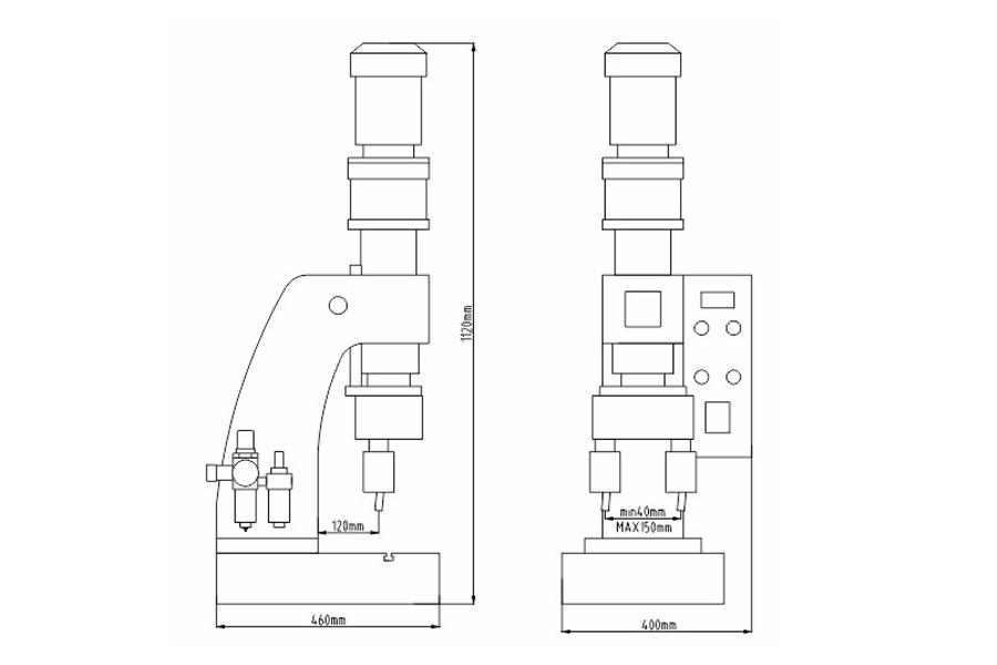 DF-A-7型气压铆接机结构尺寸图