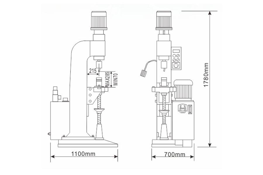 DF-A-8型气压铆接机结构尺寸