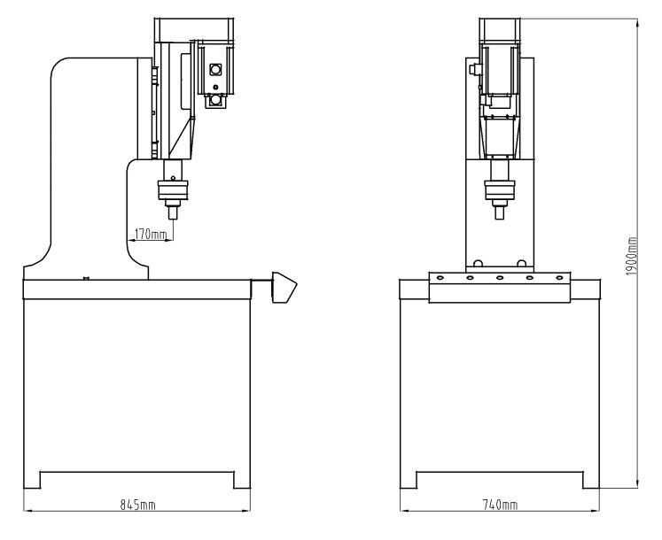 伺服单头铰孔机结构尺寸